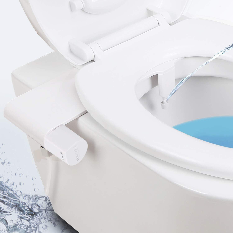 benutzerfreundlicher Einzelknopf und selbstreinigende D/üse erh/ältlich Bidet WC Aufsatz nicht elektrisch mit Frischwasserspr/üher f/ür Boden und feminine W/äsche