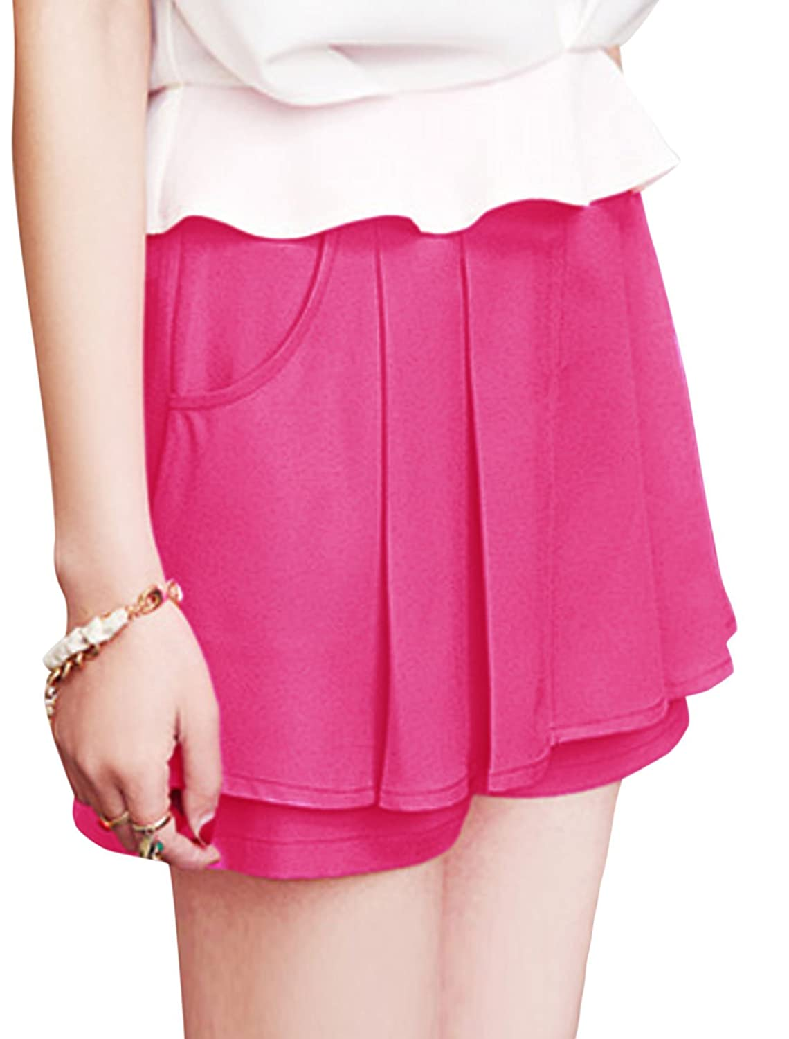 Lady High Rise Zipper Side Pleated Detail Casual Shorts