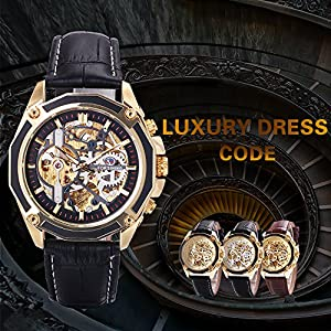 Caluxe Luxury Men Automatic Mechanical Skeleton Watch Genuine Leather Band Steampunk 3D Design