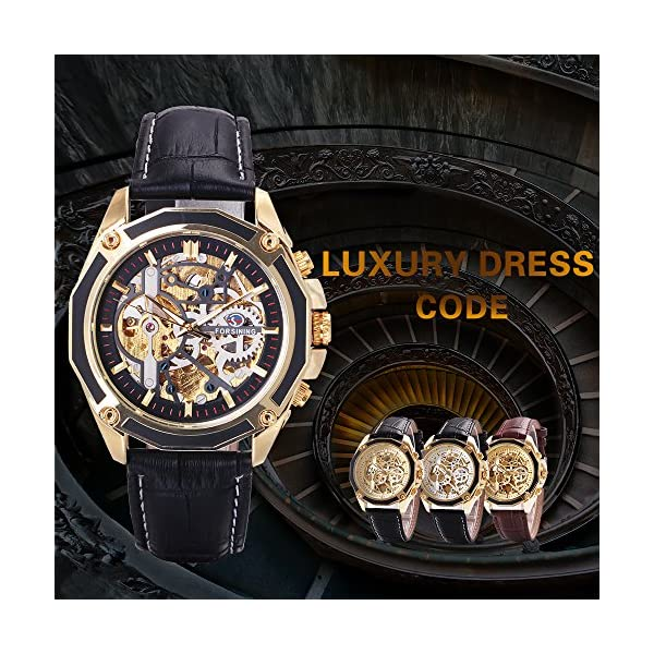 Caluxe Luxury Men Automatic Mechanical Skeleton Watch Genuine Leather Band Steampunk 3D Design 4
