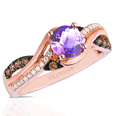 Amazon LeVian Cotton Candy Amethyst 14K Rose Gold Chocolate