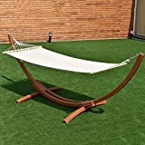 "Produit Royal 123""×46""×48"" Hammock Stand Curved Arc Wooden with Cotton Hammock Outdoor Garden Patio Backyard Wood Swing Portable Rope Hanging"