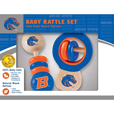 MasterPieces NCAA Boise State Broncos, Natural Wood, Non-Toxic, BPA, Phthalates, & Formaldehyde Free, Baby Rattle, 2 Pack: Sports & Outdoors
