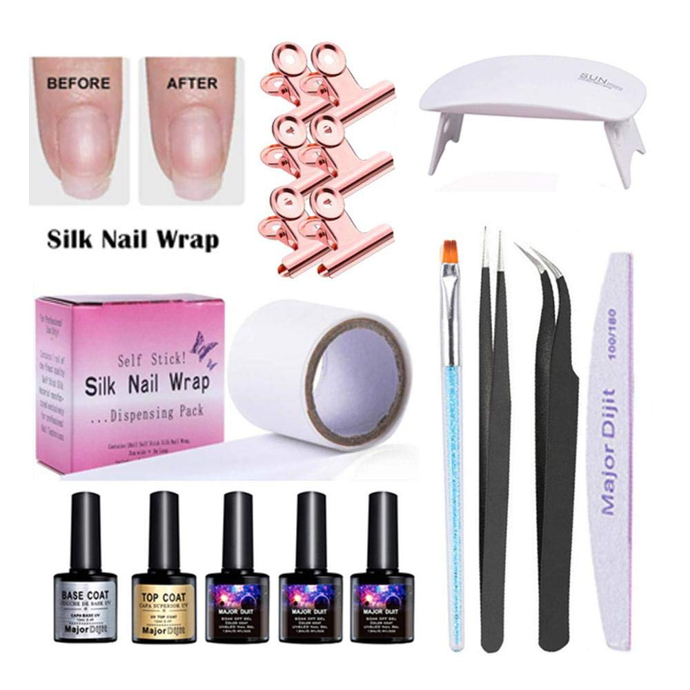 17Pcs Nail Extension Gel Kit, Volwco Fiberglass Self-Adhesive Silk Nail Wrap For Nail Art Quick Extension, Soak-off UV Gel, Top Coat Base Coat, UV Lamp, Tweezers, Nail Form Clip, Nail Brush, Nail File by Volwco