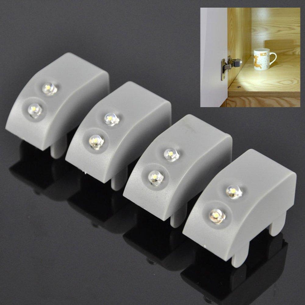 Zantec Universal Schranktür Scharnier befestigte LED Lichter für Küchen Kleiderschrank einschließlich Knopf Batterie