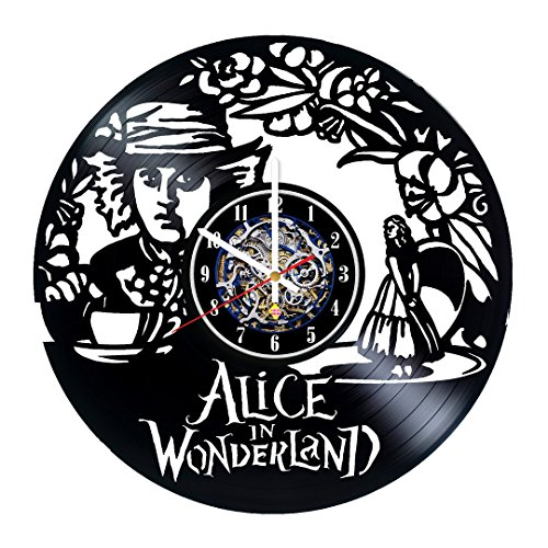 [Adventure Girl Design Vinyl Record Wall Clock - Get Unique Room Wall Decor - Gift Ideas For His and Her - Original Modern Fan] (Disney Cartoon Mad Hatter Costume)
