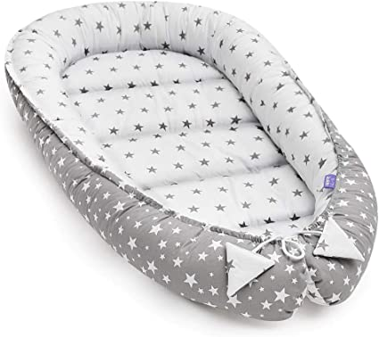 Reborn Baby Cocoon Sleep Nest Cushion Breathable Snuggle Pod Grey Star Fleece