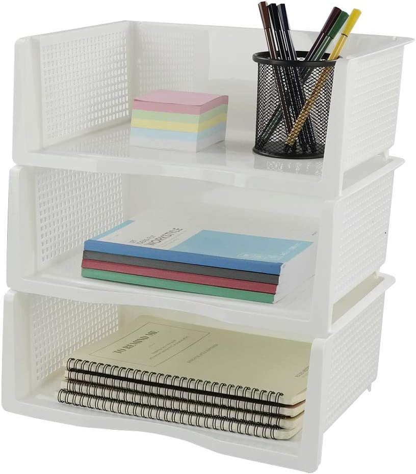 Utiao Stacking Letter Tray, Office Document File Organizer, 3 Tier/White