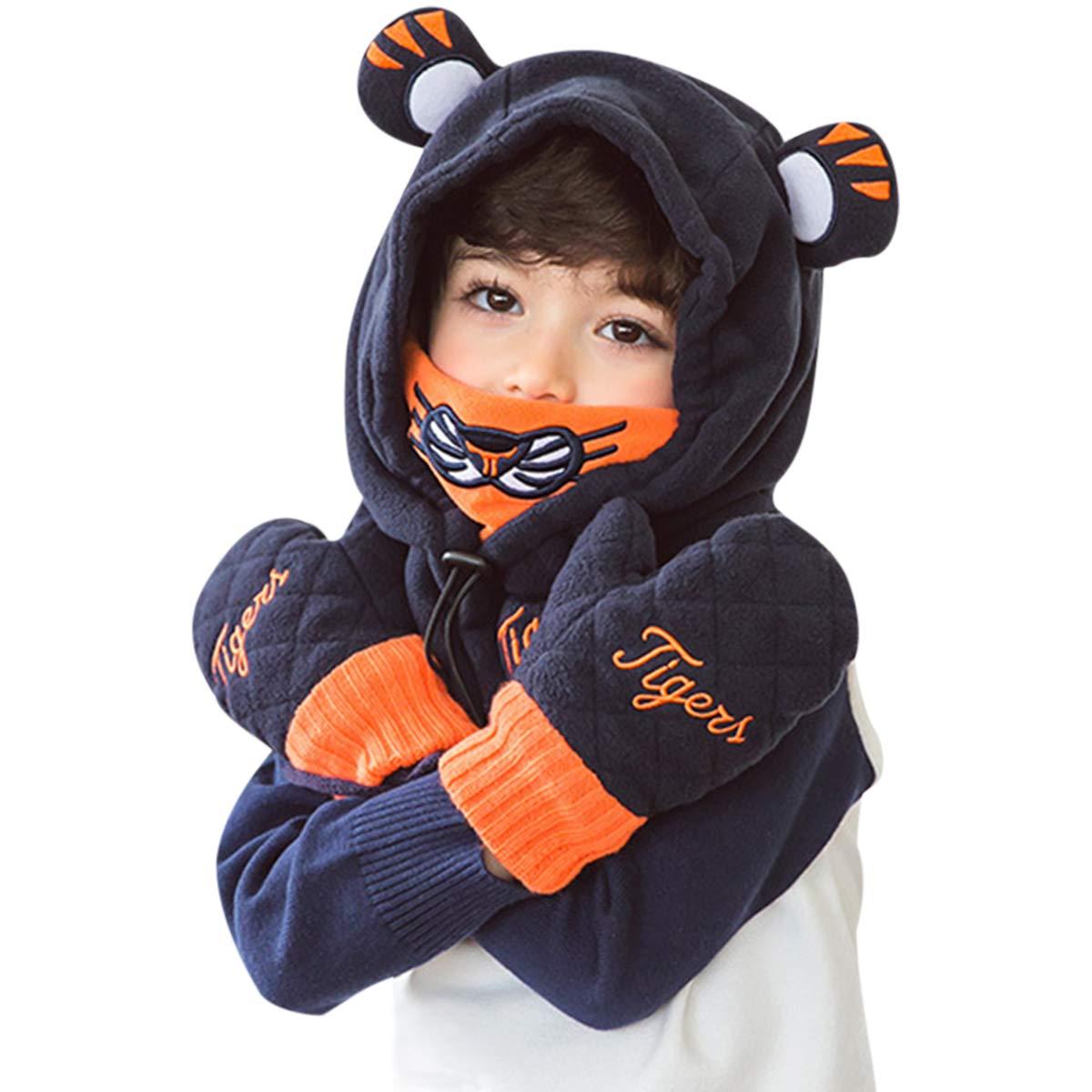 DORRISO Enfants bébé Casquettes Tomber Hiver Chaleureux Chapeaux e Mignon Petit Tigre Casquettes Gants Convient bébé de1-8 Ans