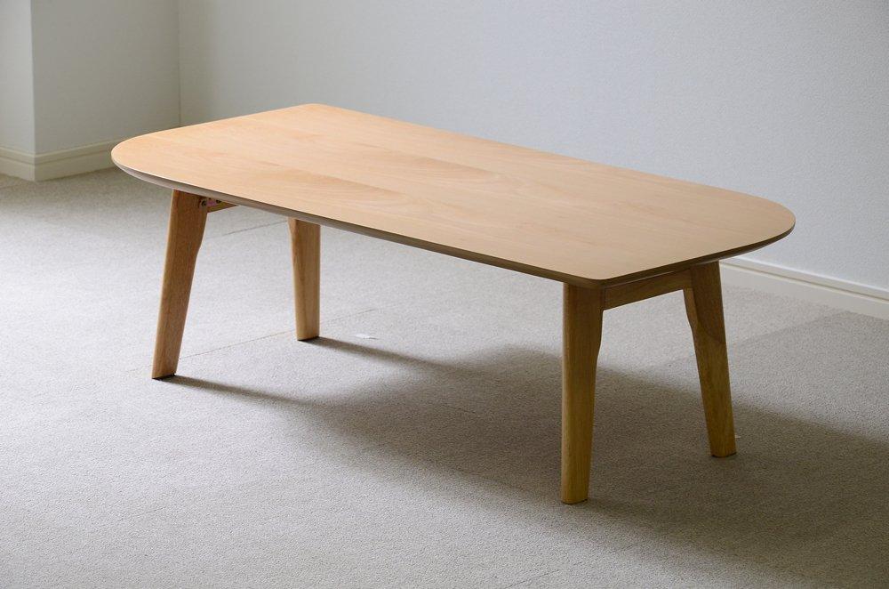 北欧調のおしゃれでシンプルな木製センターテーブル ビーチ リーフ型脚折れ(ローテーブルリビングテーブル) B073WVC3S6 リーフ型脚折れ|ビーチ(ナチュラル) ビーチ(ナチュラル) リーフ型脚折れ