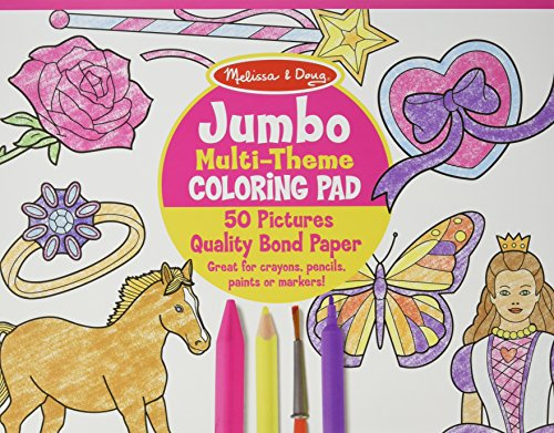 Jumbo Multi-theme Coloring Pad - Pink Coloring Book (Melissa & Doug: Art Essentials)