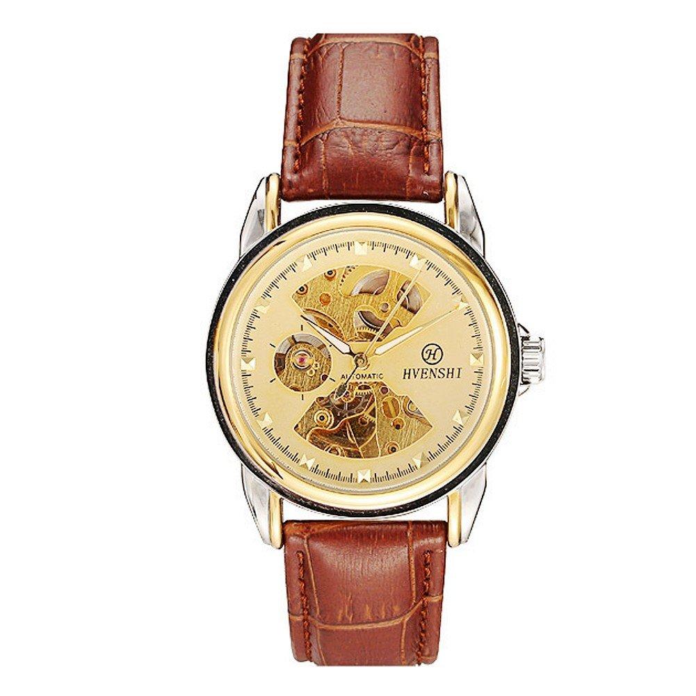 hvenshiメンズゴールドスケルトン自動巻き自動機械レザー腕時計ysw022g、ブラウン/ゴールド B06XCQCJZN