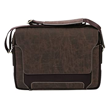 Mens Bag - FEIDKA POLO Mens Canvas Pu Shoulder Bag Handbags Briefcase for  the Office Messenger Bag Large Enough to Hold Books   iPad ed936909a3681