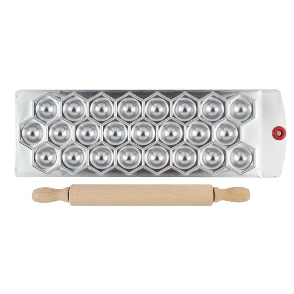 Master Feng 24 Diamond Shape Ravioli Maker Press Dumpling Molding Tray Plate With a Wooden Rolling Pin