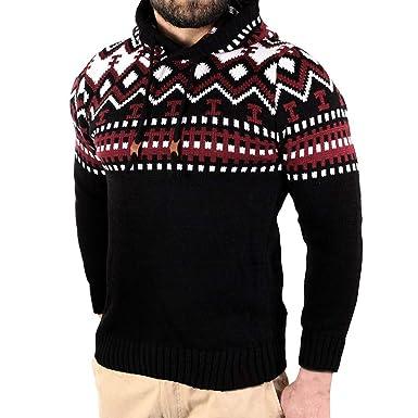 Celucke Herren Kapuzenpullover Strickpullover Norweger Pullover Langarm Sweatshirt Winter Warm Pulli Feinstrick Winterpullover