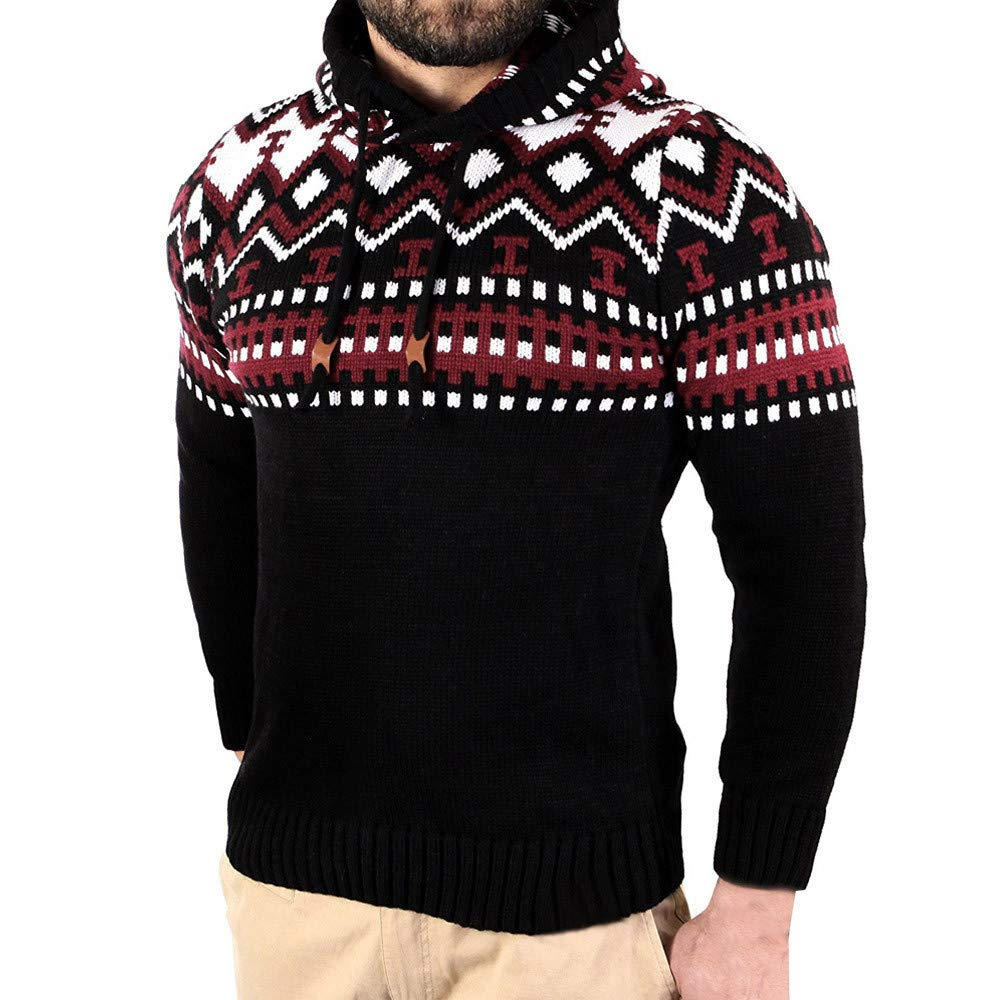 Greatgiftlist Mens Slim Fit Basic Knitted Longsleeve Hooded Pullover Sweaters