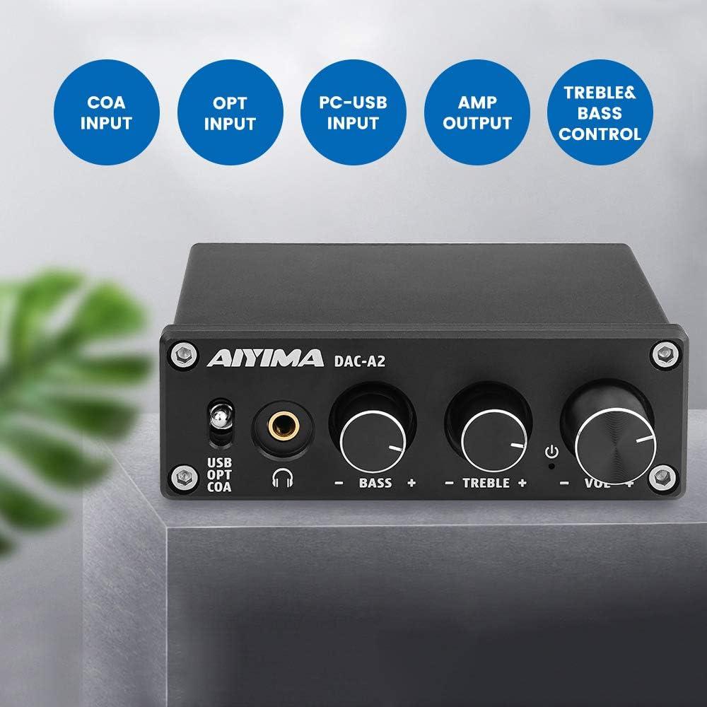 Coaxial Optique D/écodeur Sortie RCA AIYIMA DAC-A2 DC5V Mini HiFi 2.0 D/écodeur Audio Num/érique PC-USB DAC Amplificateur Casque AMP 24Bit 96KHz Entr/ée USB