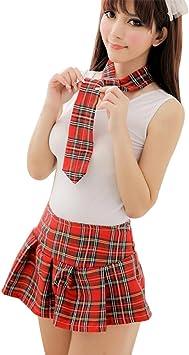 Glantop Disfraz de colegiala sexy para adulto, falda de cuadros ...