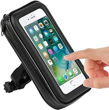 CLM-Tech Bicicleta Soporte para Teléfono móvil, Impermeable Smartphone Soporte Bicicleta Manillar hasta 6.2 Pulgada para Motocicleta Scooter, Cuero sintético Bolsa de Manillar Negro: Amazon.es: Electrónica