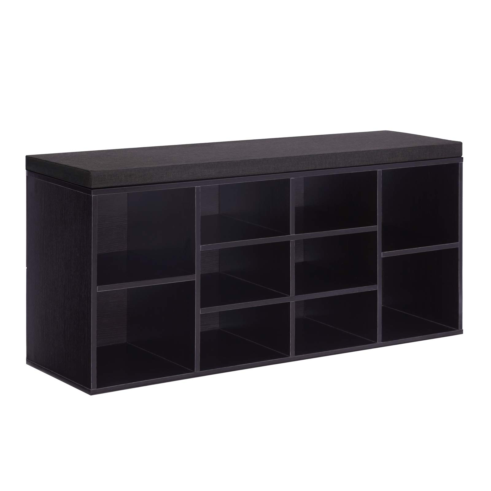 VASAGLE Cubbie Shoe Cabinet Storage Bench with Cushion, Adjustable Shelves, Holds up to 440lb, Ebony, ULHS10BR by VASAGLE