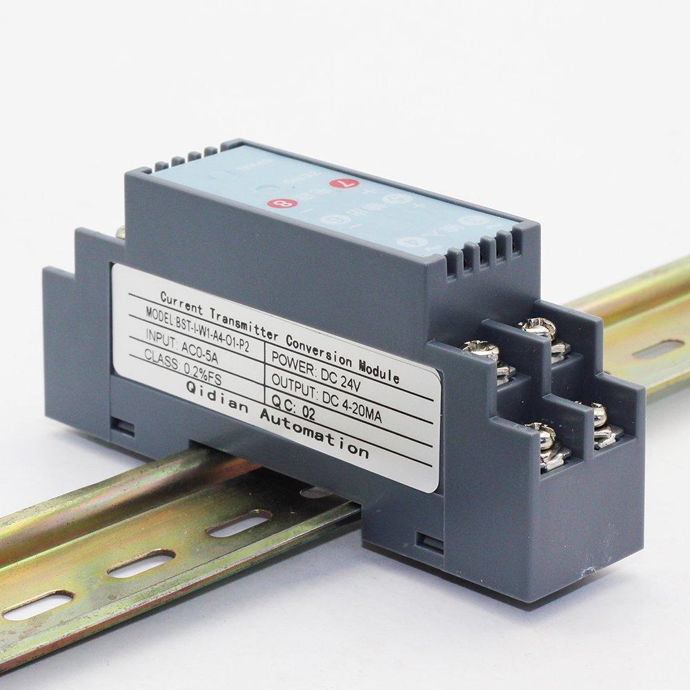 AC Current Transducer Current Sensor Transmitter Input 0-2A AC Output 4-20mA 24V Power Supply