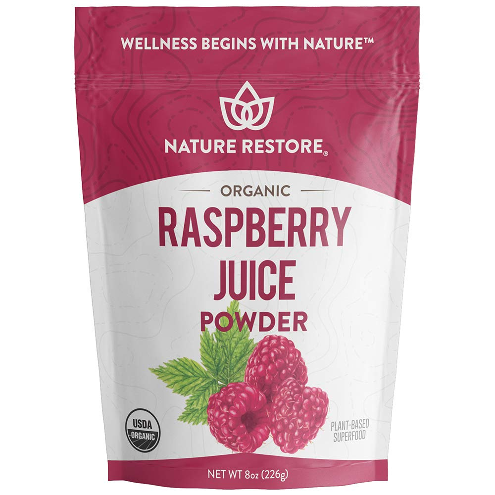 USDA Certified Organic Red Raspberry Juice Powder, 8 Ounces, Non GMO, Gluten Free, Vegan by Nature Restore