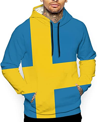 Casual 100/% Cotton Hoodie with Pocket for Men Ou30IL@WY Mens Sweden Map Hooded Fleece