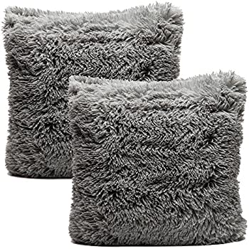 chanasya super soft long shaggy chic fuzzy faux fur warm elegent cozy gray throw pillow cover pillow sham solid silver gray fur throw pillowcase 18x18