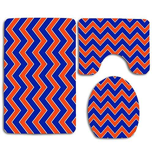 (Gator Chevron Throw 2 Bath Rug Set 3 PC,Toilet Seat Covers Toilet Lid Covers Cushions Pads Skidproof Bath Mat Rug for Toilet)