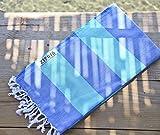 Cabana Stripe Style 100% Cotton, Pestemal Turkish Towel 39''x70'' Generous Size Turkish Towel Beach Bath Spa Yacht Gym Sport Peshtemal Sarong Hammam Towel Kikoy Fouta (Wave - Blue/Green)