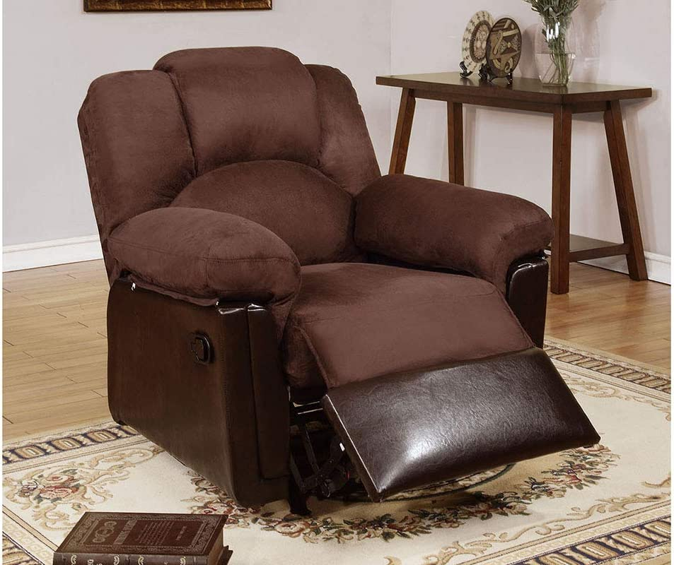 Poundex Bobkona Rocker Recliner in Chocolate Microfiber, Black