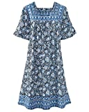 National Floral Print Patio Dress, Blue Floral, Small