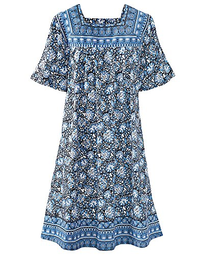 t Patio Dress, Blue Floral, Small ()
