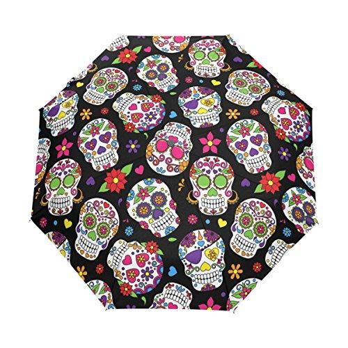 U LIFE Halloween Skulls Hello Welcome Floral Flowers Sugars Auto Open Close Umbrellas Anti UV Folding Compact Automatic Umbrella]()