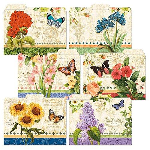 - 24 Grand Fleur File Folders Value Pack - Set of 24 (6 Designs) 1/3 Cut Staggered Tabs, Letter-Size Designed Folders