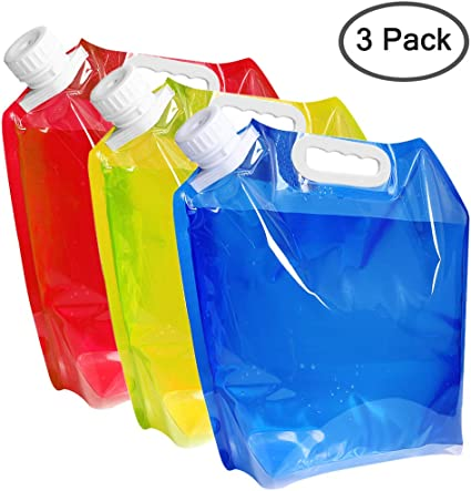 Hikes and Outdoors with Strong Handle and Collapsible and Easy to Fold Camping Set of 2 Collapsible Water Carrier 5 Litre Container For Picnics