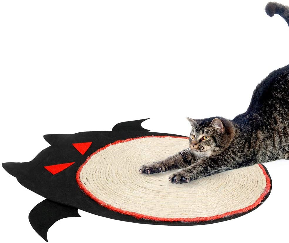 BestFire Cat Scratching Mat, Durable Natural Sisal Woven Scratching Cat Pad, Cat Claws Care Toy, Halloween Dark Style, Bat Cartoon Pattern Cat Scratch Mat for Protecting Furniture and Carpet (Black)