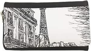 محفظة مصنوعة من الجلد بتصميم رسم تجريدي لباريس بألوان مختلفة