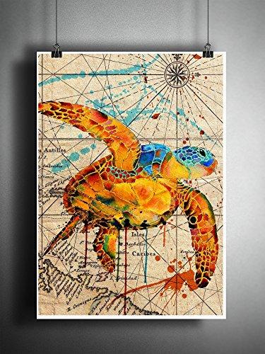 Sea turtle splatter art print, old world map, beach decor
