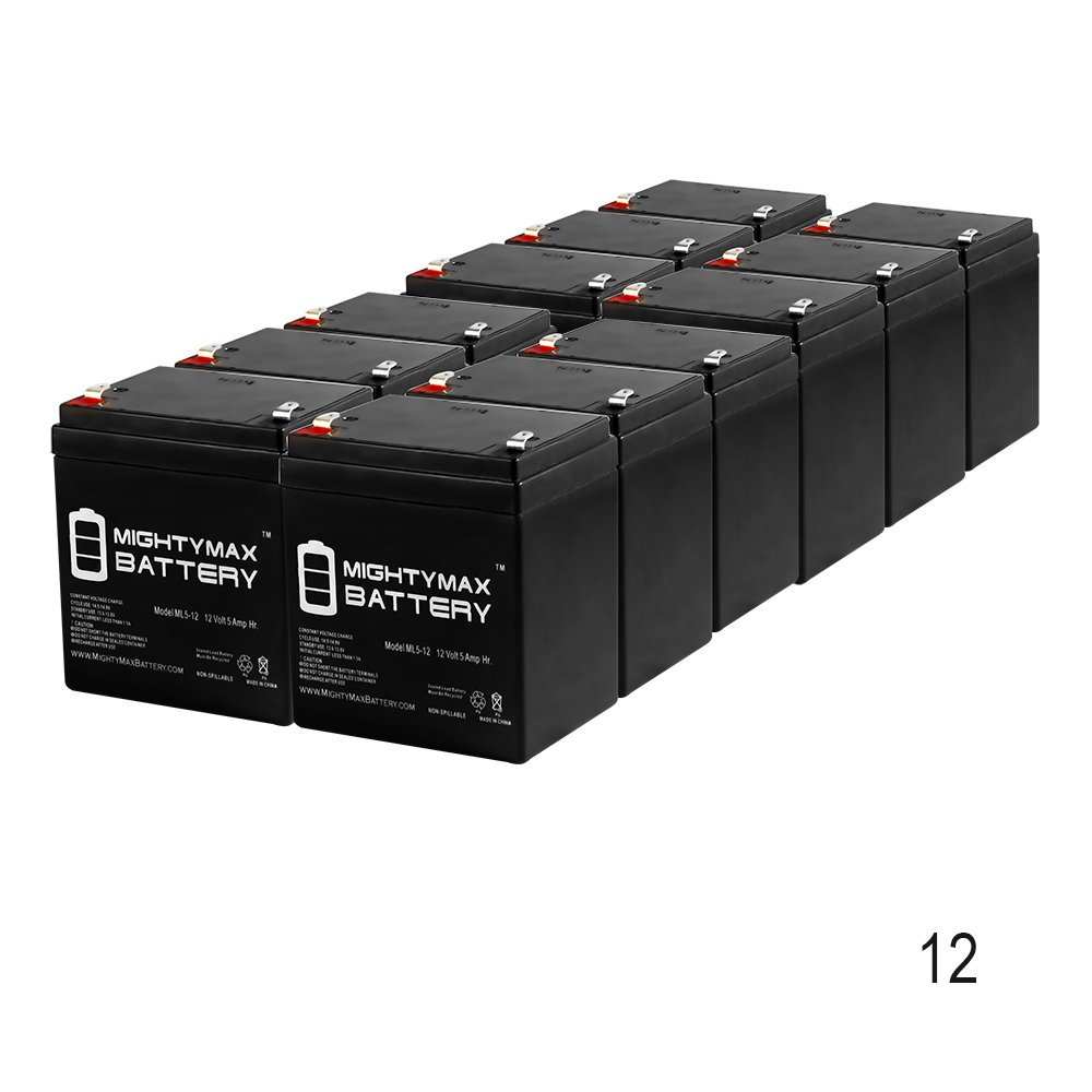 ML5-12 - 12V 5AH Battery for Razor E100 E125 E150 E175 Electric Scooter - 12 Pack - Mighty Max Battery brand product