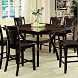 Matusz Traditional Style Dark Cherry Finish 9-Piece Counter Height Table Set