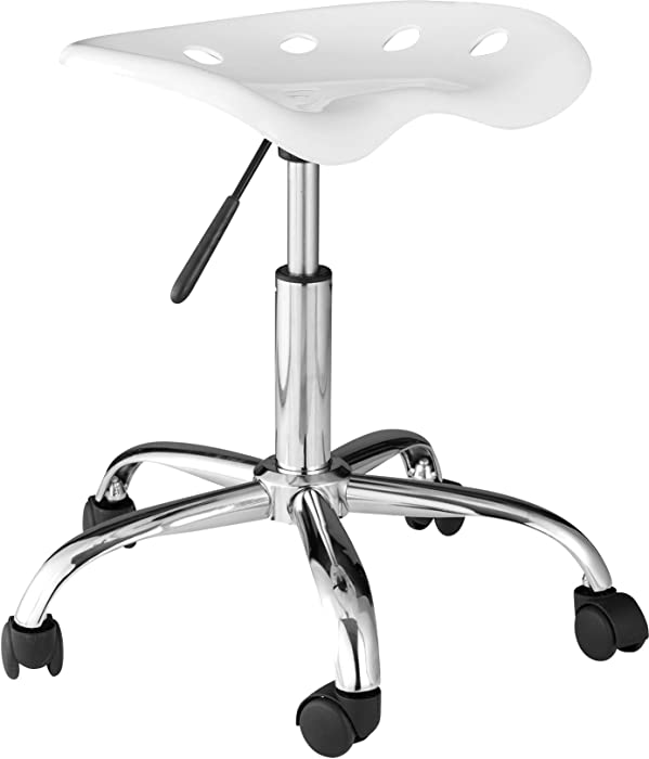 OneSpace Computer Task Chair with Tractor Seat, White