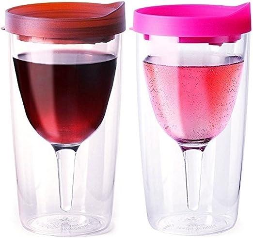 Vino2Go Double Wall Insulated Acrylic Wine Tumbler Merlot and Purple Set of 2