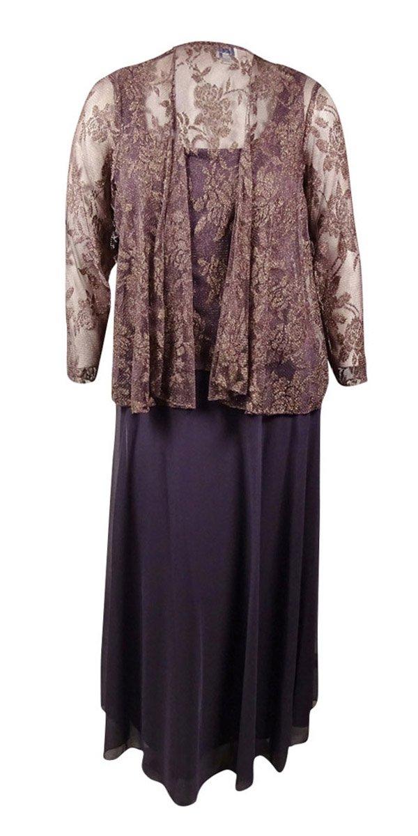 Patra 2pc Full Length Dress & Lace Jacket Plum Gold (16W)