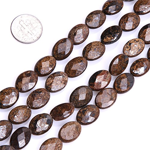 10x14mm Oval Faceted Bronzite Beads Strand 15 Inch Jewelry Making Beads