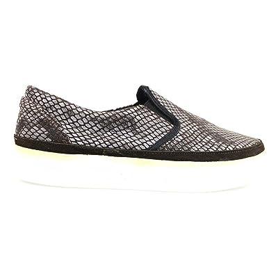 2 STAR Loafer / Moccasins Gray dark Brown Textile Suede AP718 (10 US / 40 EU)