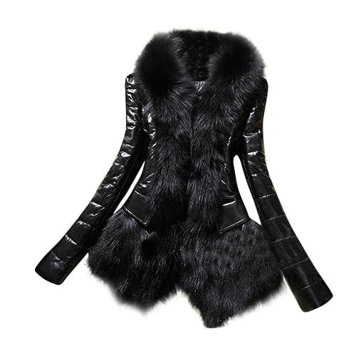 KaloryWee Parka para Mujer Cálido Abrigo de Piel Chaqueta de Cuero Grueso - Abrigo para Mujer