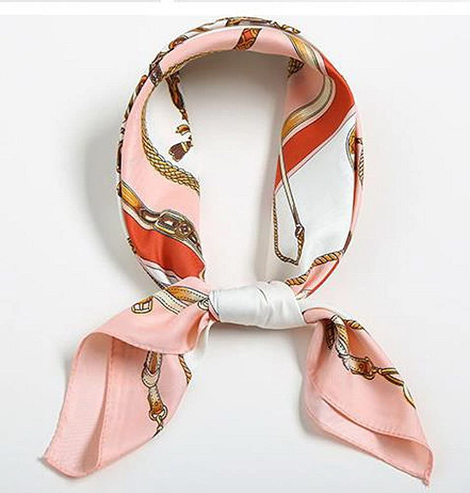 Fashion Small Square Scarves Decorative Scarves Women Hairbands Chains Pink Brim