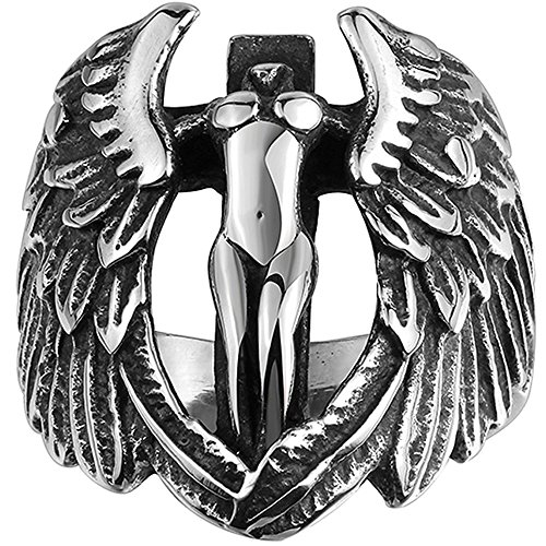 (Men's 316L Stainless Steel Large Cross Angel Wing Unisex Ring Band Vintage Gothic Punk Biker Silver Black Size)