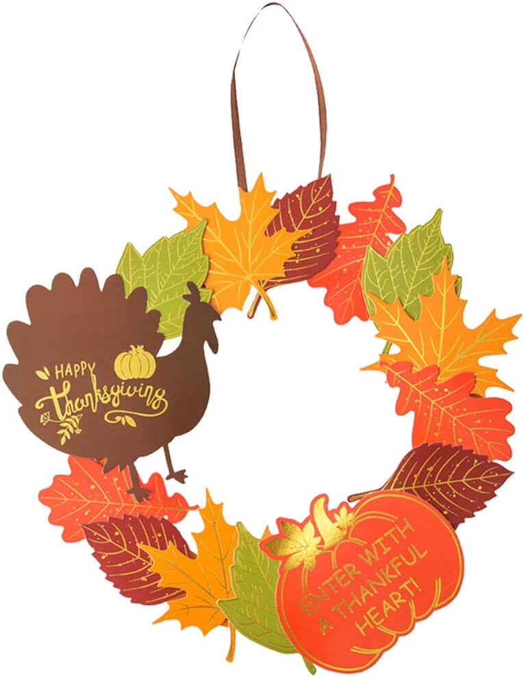 Thanksgiving Turkey Wreath, Give Thanks Garland, Thanksgiving Turkey Fall Maple Leaf Pumpkin Wreath Front Door Home Decorations Supplies